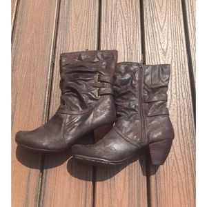 "BareTraps ""Trissa"" Brown Midcalf Heeled Boots"
